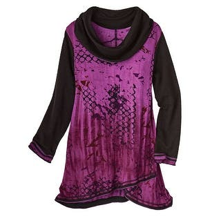 Women's Cowl Neck Tunic Top - Moonlit Purple & Black Long Sleeve|https://ak1.ostkcdn.com/images/products/is/images/direct/aa93cd40b9f64d13c0331fccf7e46ac2976b0064/Women%27s-Cowl-Neck-Tunic-Top---Moonlit-Purple-%26-Black-Long-Sleeve.jpg?impolicy=medium