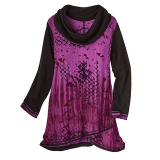 Women's Cowl Neck Tunic Top - Moonlit Purple & Black Long Sleeve