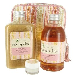 Naturals Honey Chai Bath Set with Sequin Storage Pouch