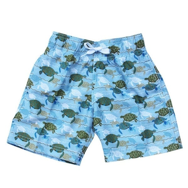 Azul Baby Boys Blue Green Turtles Love Swim Aquatic Print Swimwear Trunks