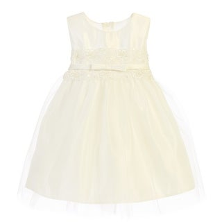 Sweet Kids Baby Girls Ivory Satin Lace Bow Tulle Flower Girl Dress 6-24M (3 options available)