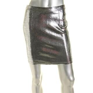 Alice + Olivia Womens Leather Pencil Mini Skirt