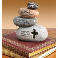 "Stacked Stones Serenity Prayer Sculpture - Indoor/Outdoor Statue - 5.12"" High - By Enesco Legacy of Love - 4.5 in. x 5.25 in."