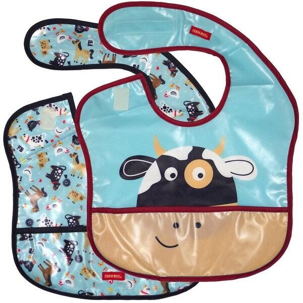 Farm Boy Western Bib Boys Cow Waterproof 2 pc set OS Blue