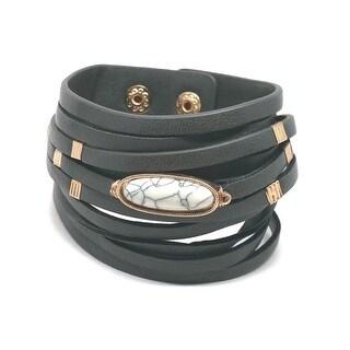 Potissi Long Semi Precious Stone Genuine Leather Wrap Bracelet