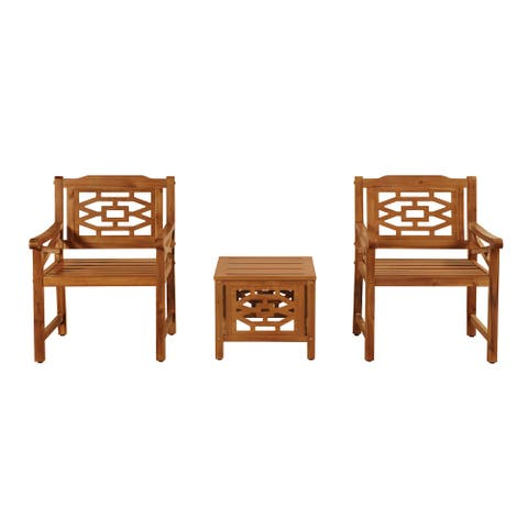 OVE Decors Malay 3-Piece Bistro Set with Natural Wood Look Finish