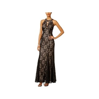 Nightway Womens Petites Evening Dress Lace Halter