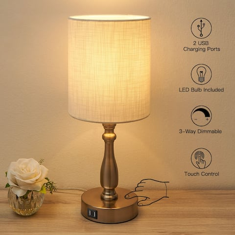 3-Way Dimmable Touch Control Small Table Lamp with 2 USB Port, Brushed Steel