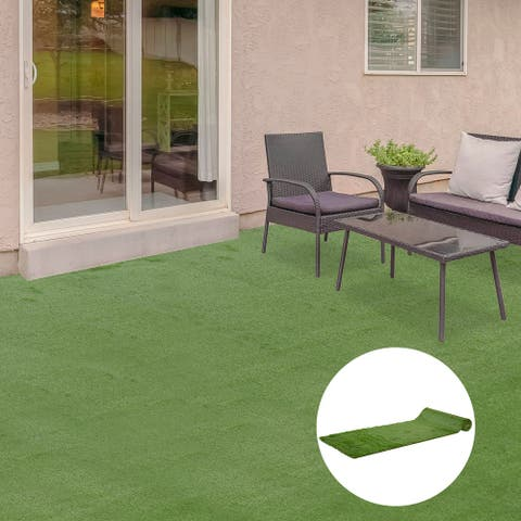 """Outsunny 13' x 3.3' Artificial Turf Grass with Simulated Look & Feel, UV Protection, & Drain Holes for Rain, 1.5"""" Height"""