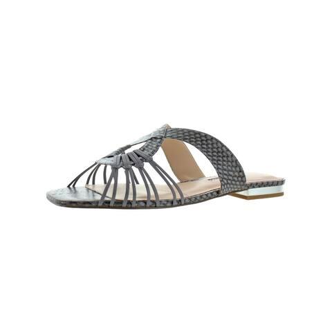 Charles David Womens Silvy Slide Sandals Leather Snake Print - Slate Snake Leather