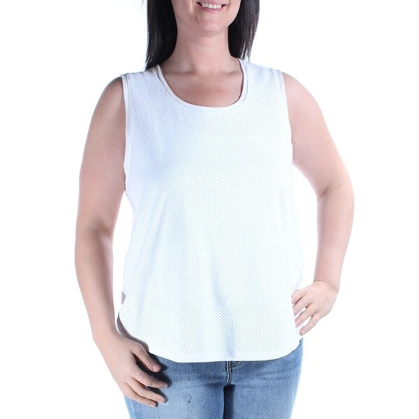 71c21fd92fde0 Shop CALVIN KLEIN Womens White Eyelet FAUX SUEDE Sleeveless Jewel Neck Top  Size  L - Free Shipping On Orders Over  45 - Overstock.com - 21309749