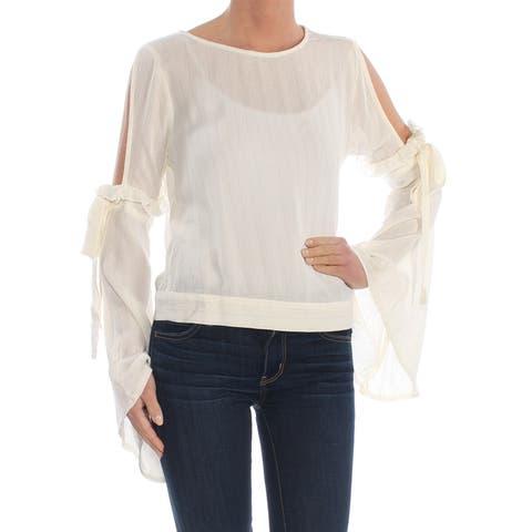 BAR III Womens Ivory Cold Shoulder Kimono Sleeve Jewel Neck Blouse Top Size: S