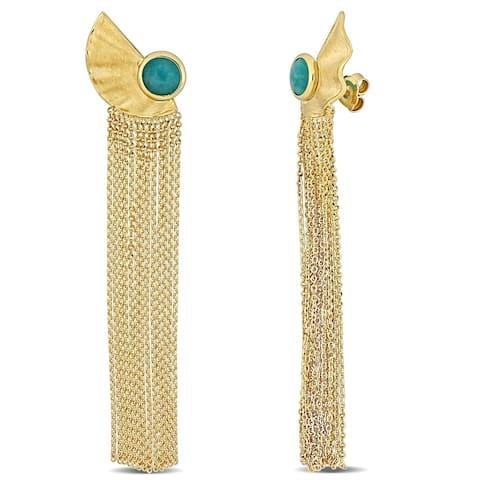 Miadora 18k Yellow Gold Aquamarine Chandelier Tassel Earrings - 17mm x 4.5mm