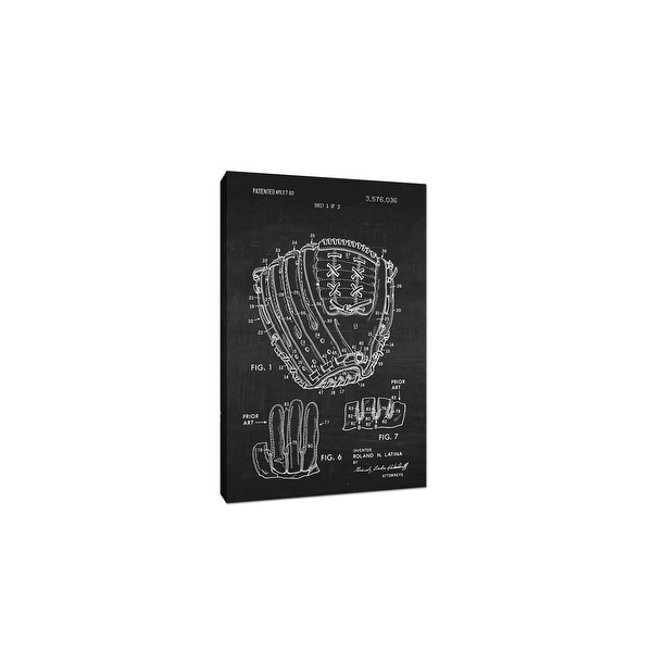 Baseball Glove Canvas (White on Chalkboard) - Sports Patents - 20x12 Canvas