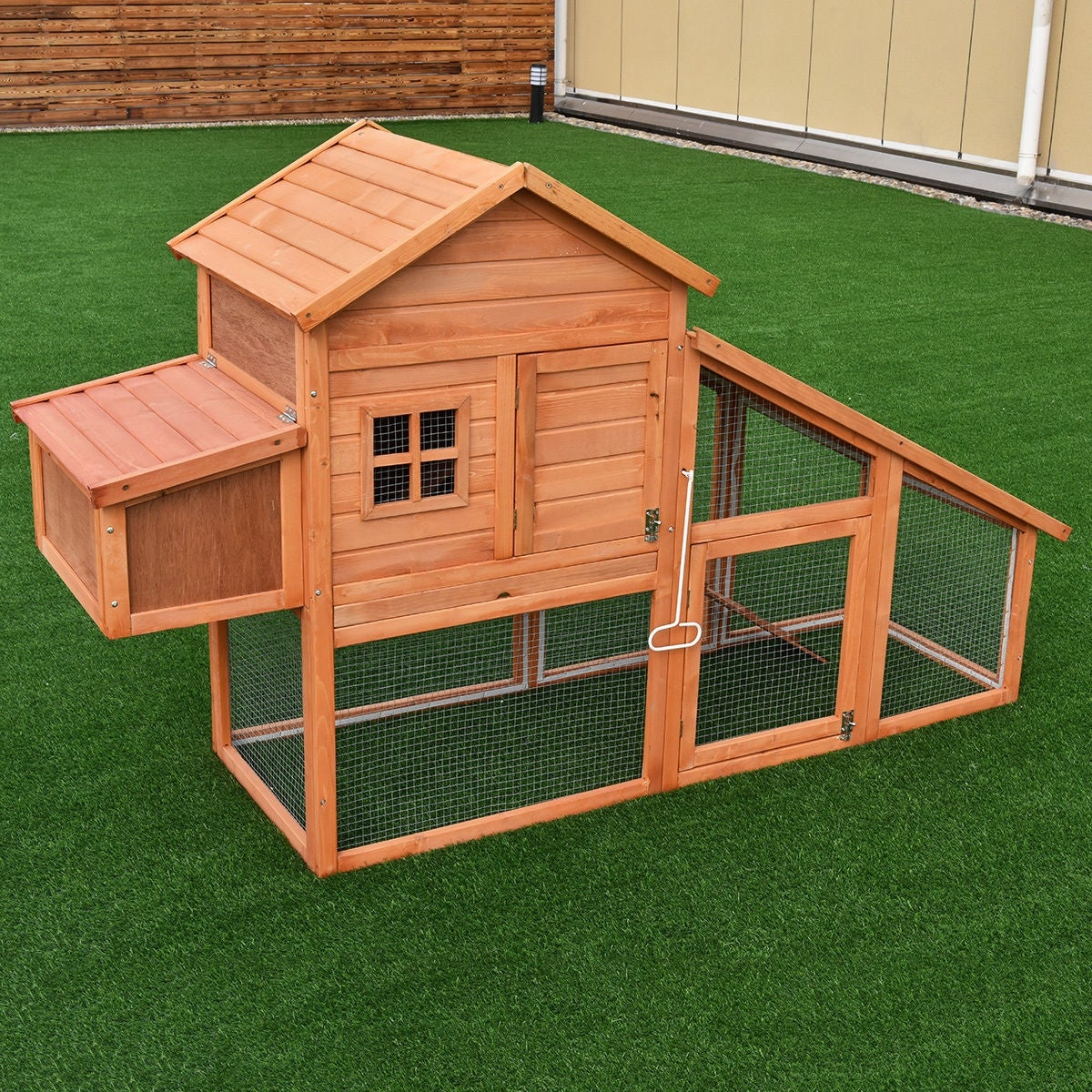 Costway 75'' Large Deluxe Wooden Chicken Coop Backyard Nest Box Hen House  Hutch w/Run - as pic