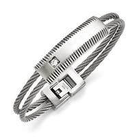 Chisel Stainless Steel Polished and Brushed CZ Wire Bracelet