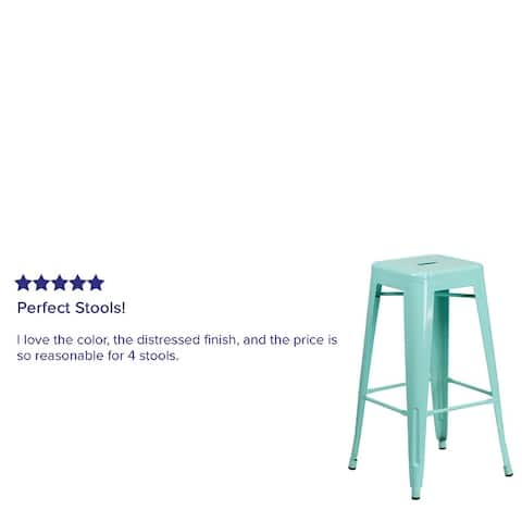"30"" High Backless Metal Indoor-Outdoor Barstool with Square Seat"
