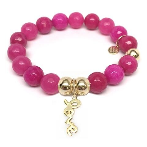 Julieta Jewelry Love Charm Fuchsia Quartz Bracelet