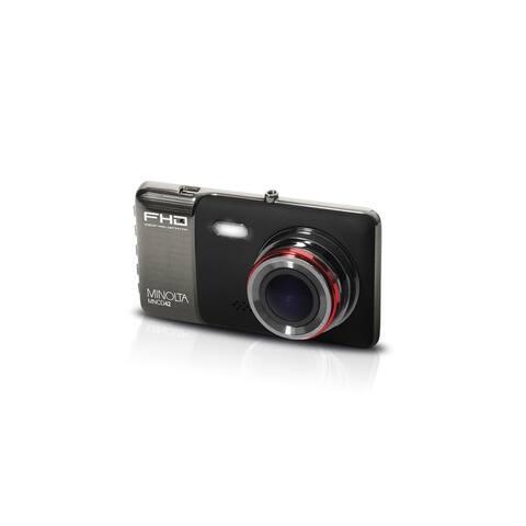"Minolta Full HD 1080p Wide Angle Car Dash Camera with G-Sensor, HDR, Loop Recording & 4"" LCD (Black)"
