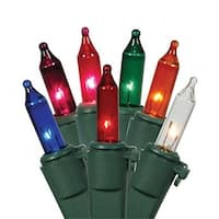 Set Of 50 Multi-Color Mini Christmas Lights - Green Wire
