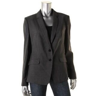 BOSS Hugo Boss Womens Julara Wool Checkered Two-Button Blazer - 12