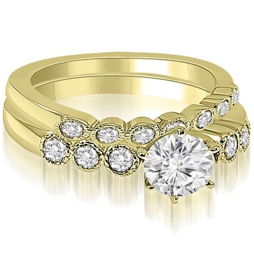 0.91 cttw. 14K Yellow Gold Vintage Milgrain Round Cut Diamond Bridal Set