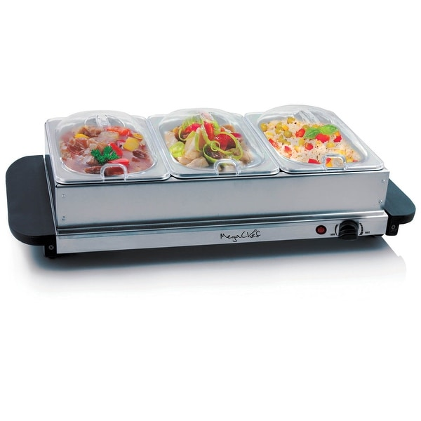 MegaChef Buffet Server & Food Warmer With 3 Removable Sectional Trays , Heated Warming Tray and Removable Tray Frame