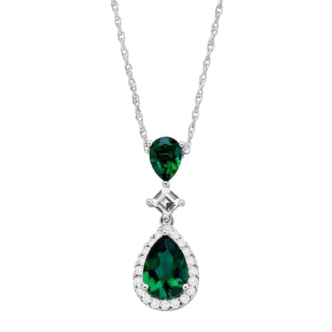 Created Emerald & White Sapphire Teardrop Pendant in Sterling Silver - Green