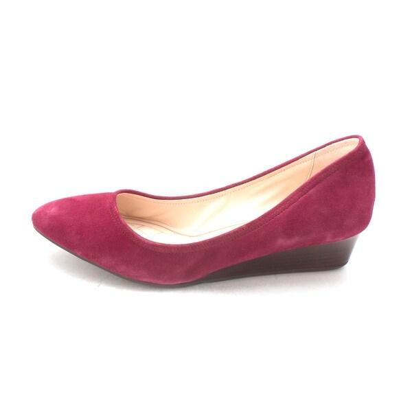 Cole Haan Womens Xavierresam Suede Closed Toe Wedge Pumps, Purple, Size 6.0
