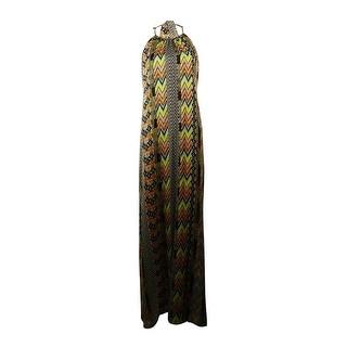 Jessica Simpson Women's Shirring Printed Halter Dress - m