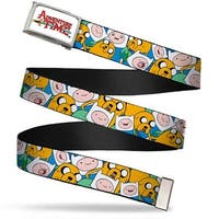 Adventure Time Logo Fcg White  Chrome Finn & Jake Stacked1 Webbing Web Belt