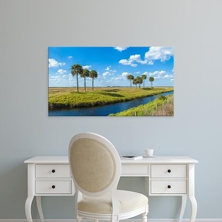 Easy Art Prints Panoramic Images's 'Stream flowing through a field, Florida, USA' Premium Canvas Art