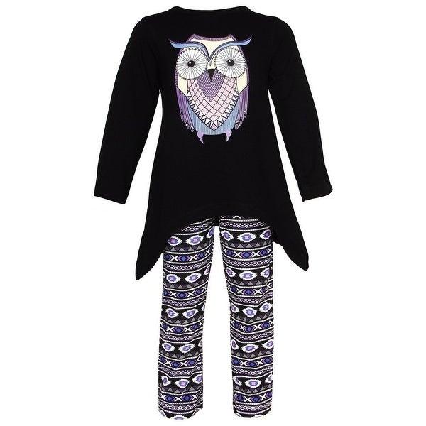 Baby Girls Black Blue Owl Print Art Deco Leggings Outfit 12-24M