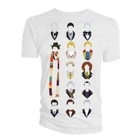 Doctor Who Classic Mens T-Shirt Vector All Heads Inc War And Twelve