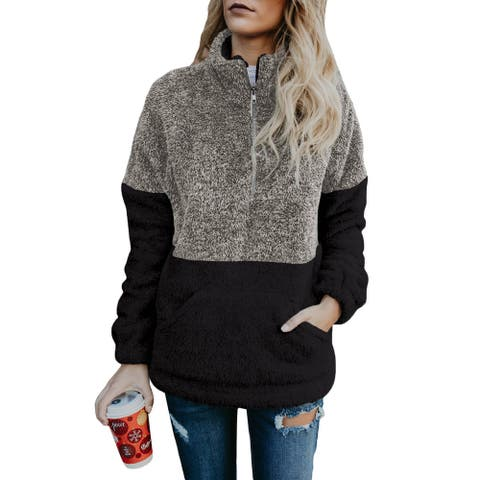 Cali Chic Women's Sweatshirt Celebrity Grey Taupe Zip Neck Oversize Fluffy Fleece Pullover Sweatshirt