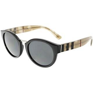 Burberry Women's BE4227-360087-50 Black Round Sunglasses