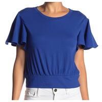 Abound Blue Women's Size Medium M Ruffle Sleeve Scoop Neck Blouse