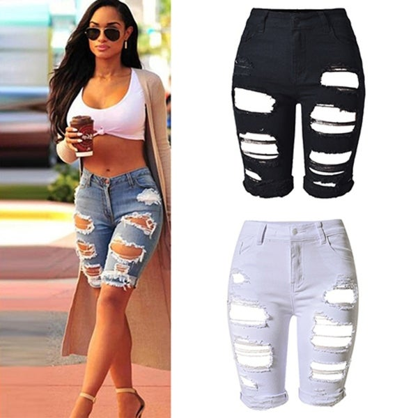 c3f23bc236 Shop hot Casual Half Pants Ripped Hole Jeans Mid-Rise Slim Fit Fifth ...
