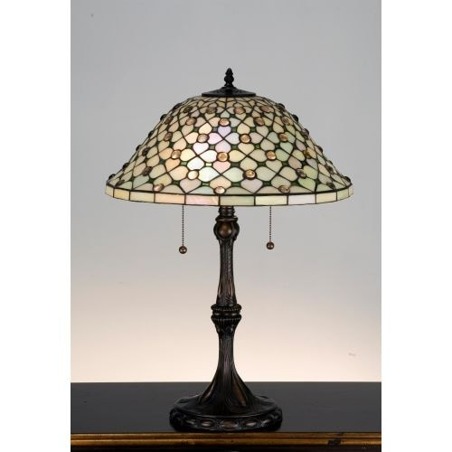 Meyda Tiffany 18728 Stained Glass / Tiffany Table Lamp From The Diamond  U0026amp; Jewel Collection