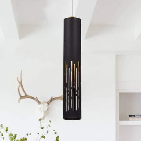 1-Light Matte Black Cylinder Pendant Light - Matte Black