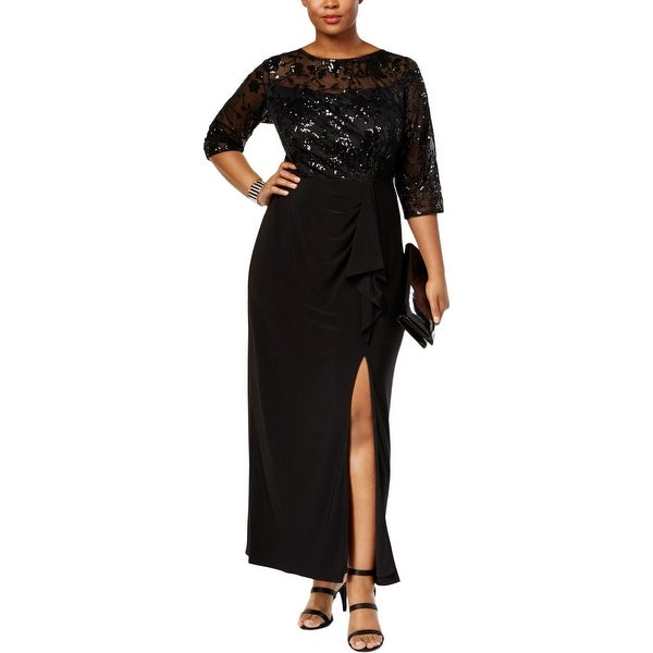 498d94f630eb Shop Alex Evenings Womens Plus Evening Dress Floral Print Sequined ...