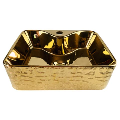 Emperador Imperial Golden Rectangle Vessel Sink