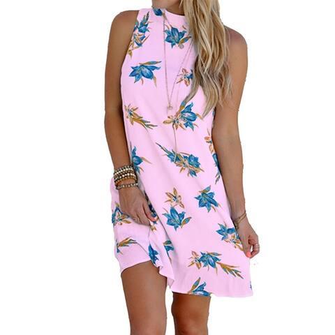 Summer Dress Floral Print Halter Women Sleeveless Backless Dress For Dating