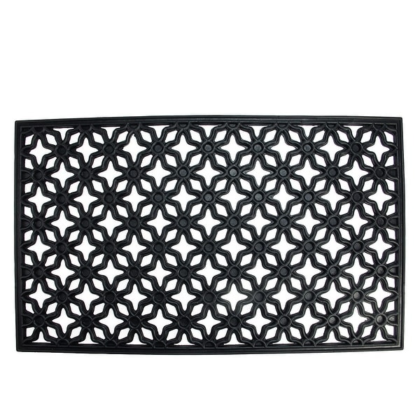 "Black Elegant Quatrefoil Design Rectangular Doormat 17"" x 29"" - N/A"