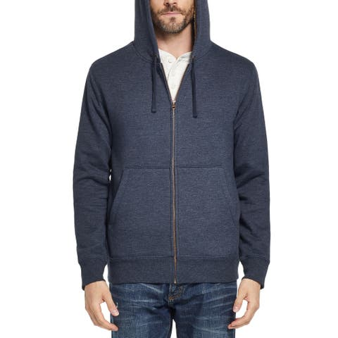 Weatherproof Mens Sweater Navy Blue Size Medium M Hooded Full-Zipped