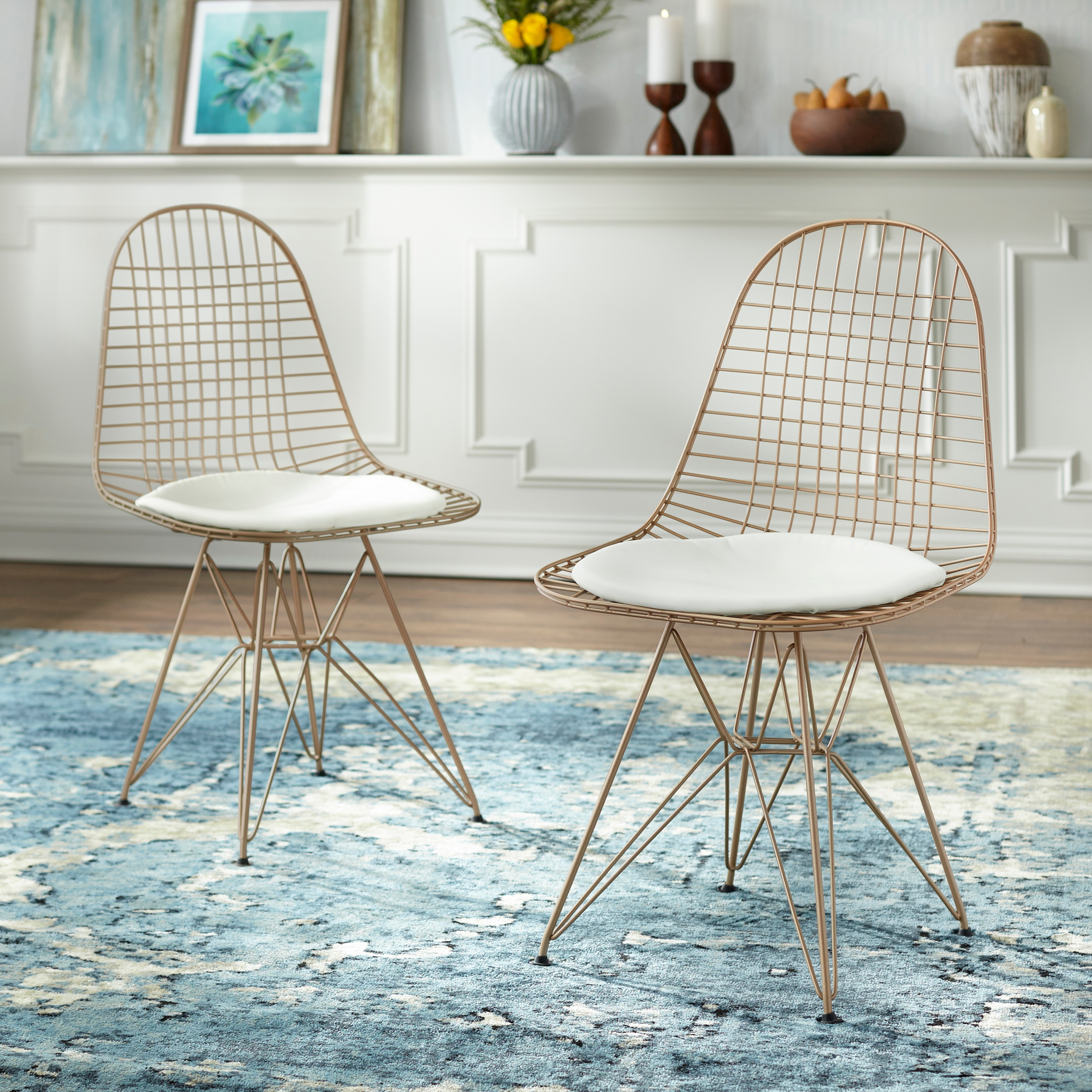Simple Living Eiffel Wire Dining Chair Set Of 2 Overstock 23016353