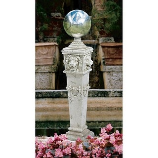 Design Toscano Lion Head Gazing Globe Garden Pillar Statue