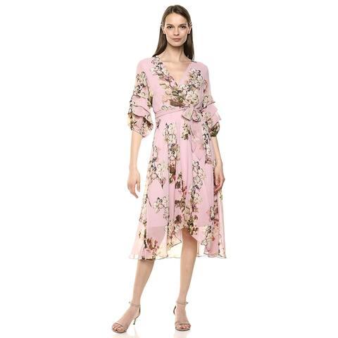 Gabby Skye Women's Elbow Sleeve V-Neck Midi A-Line Dress,, Blush Multi, Size 6.0 - 6