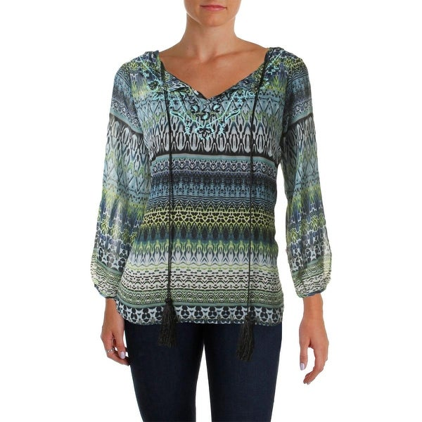 Status by Chenault Womens Blouse 3/4 Sleeves Printed