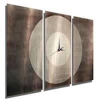 "Statements2000 Silver/Charcoal Metal Wall Clock Art Panels by Jon Allen - Dynamic Onyx - 38"" x 24"""